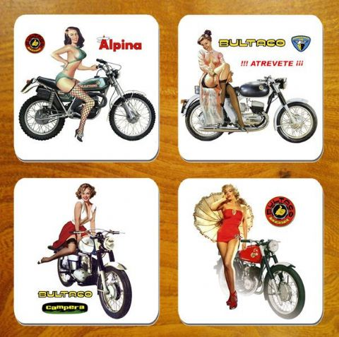 Bultaco Chicas Motorbike Coasters Set Of 4 Motorcycle Biker Classic Bike Gift